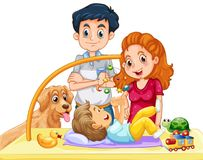 Family with toddler and dog. Illustration Stock Photography