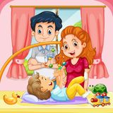Family with toddler at home. Illustration Royalty Free Stock Photo