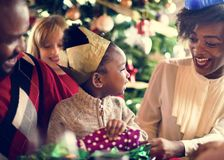 Family Together Christmas Celebration Concept Stock Images