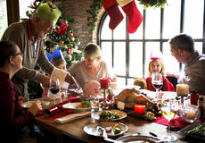 Family Together Christmas Celebration Concept. Christmas Celebration Family Gathering  Concept Royalty Free Stock Image