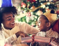 Family Together Christmas Celebration Concept Royalty Free Stock Images
