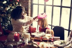 Family Together Christmas Celebration Concept Stock Photography