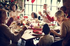 Family Together Christmas Celebration Concept. Family Togetherness Christmas Celebration Dinner Table Concept royalty free stock image