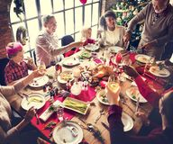 Family Together Christmas Celebration Concept. Family Togetherness Christmas Celebration Dinner Table Concept Stock Photography