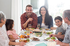 Family together having meal Stock Photos