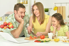 Family together on the kitchen Royalty Free Stock Photography