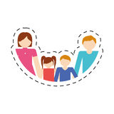 Family together members traditional cut line. Illustration eps 10 Stock Photo