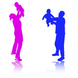 Family together silhouettes Stock Photography