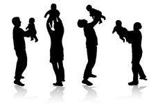 Family together silhouettes Stock Photos
