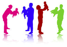 Family together silhouettes Royalty Free Stock Photos