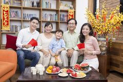 The Family together on tet holiday Royalty Free Stock Image