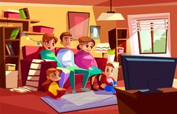 Family watching TV vector cartoon illustration. Family together watching TV vector illustration of parents and children sitting on sofa or chair in living room stock illustration