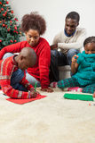 Family together writing the letter to santa Royalty Free Stock Photography