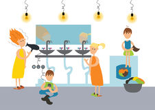 Family in toilet of hostel or communal apartment. Vector. Royalty Free Stock Photos
