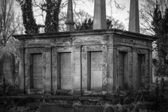 Family Tomb. Black & white image of large family tomb from Victorian era Stock Photography
