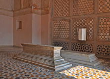 Family Tombs at the Complex, Agra. The tomb of Mughal Emperor Akbar is one of the many Mughal Architectural highlights to be seen in Agra. The richness and Stock Photo