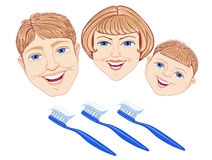 Family with toothbrush. Blue-eyed man and the woman and the child with benevolent smiles and tooth-brushes of dark blue color Stock Photos