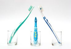 Family of toothbrushes Royalty Free Stock Photography