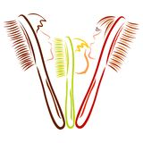 Family of toothbrushes or combs, dad, mom and baby stock illustration