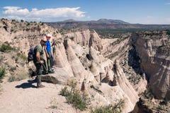 Family on the top of the mountain. Kasha-Katuwe Tent Rocks Natio Stock Photos