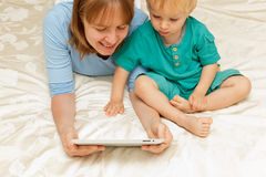 Family with touch pad Stock Photography