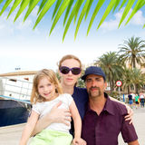 Family tourist in Ibiza town port. In summer Royalty Free Stock Photo