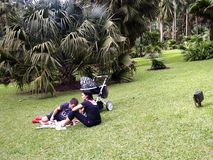 A family of tourist sits and rests on the grass Royalty Free Stock Photos