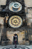 Family of Tourists on the Background of Tower Astronomical Clock, Prague Royalty Free Stock Image