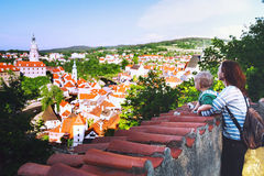 Family of Tourists in Cesky Krumlov, Czech Republic, Europe Royalty Free Stock Image