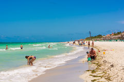 Family and tourists enjoying Varadero beach in Cuba Royalty Free Stock Image