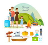 Family of tourists with luggage, engaged in hiking, camping. Royalty Free Stock Photo