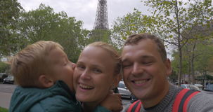Family of tourists making selfie video in Paris stock footage