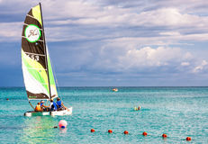 Family of tourists  sailing in Cuba Stock Photo