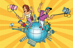 Family tourists and selfie, a trip around the world. Pop art retro vector illustration Stock Photos