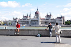 Family tourists in Budapest Royalty Free Stock Photo