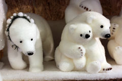 Family of toy polar bears Stock Photo