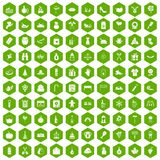 100 family tradition icons hexagon green. 100 family tradition icons set in green hexagon isolated vector illustration Royalty Free Stock Photo