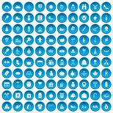 100 family tradition icons set blue. 100 family tradition icons set in blue circle isolated on white vectr illustration Stock Photos