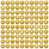 100 family tradition icons set gold. 100 family tradition icons set in gold circle isolated on white vectr illustration stock illustration