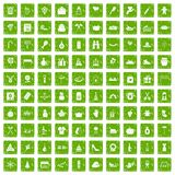 100 family tradition icons set grunge green Royalty Free Stock Photo