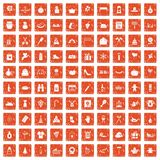 100 family tradition icons set grunge orange. 100 family tradition icons set in grunge style orange color isolated on white background vector illustration Stock Photo