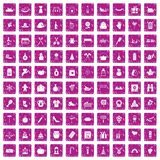 100 family tradition icons set grunge pink. 100 family tradition icons set in grunge style pink color isolated on white background vector illustration royalty free illustration