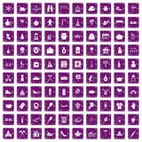 100 family tradition icons set grunge purple. 100 family tradition icons set in grunge style purple color isolated on white background vector illustration Stock Images