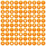 100 family tradition icons set orange. 100 family tradition icons set in orange circle isolated vector illustration vector illustration