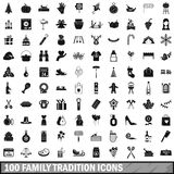 100 family tradition icons set, simple style. 100 family tradition icons set in simple style for any design vector illustration Stock Photos