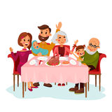 Family on traditional holiday dinner. With chicken or turkey. Father and mother, grandmother and grandfather with daughter girl, newborn baby in family. Festive Stock Photos
