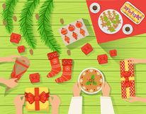 Family At The traditionally Served Christmas Table View From Above Royalty Free Stock Images