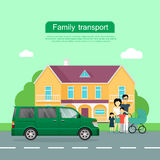 Family Transport Flat Vector Web Banner Stock Images