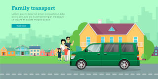 Family Transport Flat Vector Web Banner Royalty Free Stock Photos