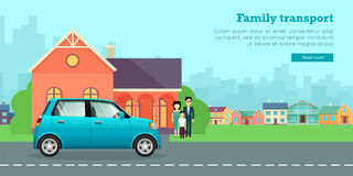 Family Transport Flat Vector Web Banner Stock Image